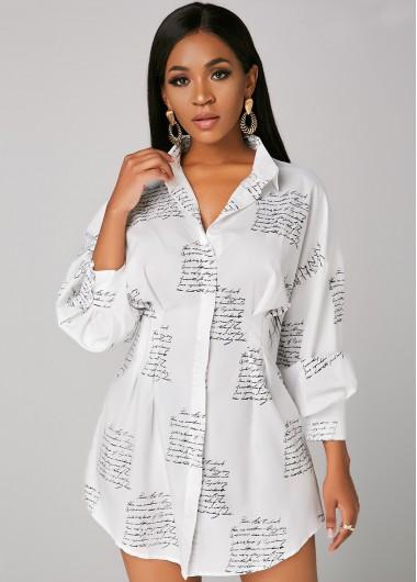 Rosewe Wedding Guest Dress Button Up Turndown Collar Letter Print Shirt Dress - S