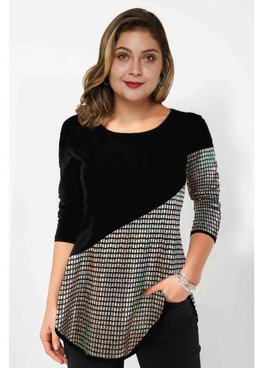 Sequin Panel Long Sleeve Plus Size T Shirt