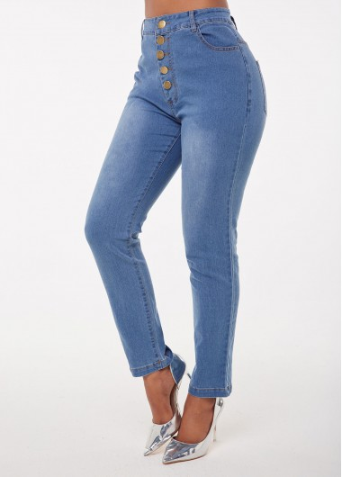 High Waist Acid Washed Button Jeans