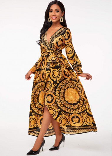 Rosewe coupon: Rosewe Women Bohemian Printed V Neck Belted Maxi Flowy Dress Plunging Neck Long Sleeve Cocktail Party Dress - 2XL