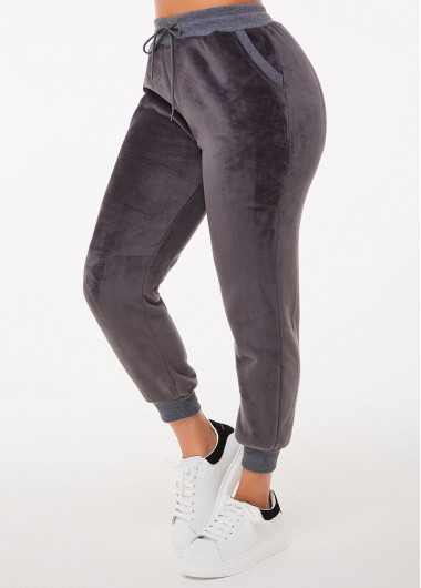 Pocket Grey Plush Drawstring Waist Pants