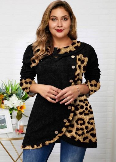 Leopard Asymmetric Hem Button Plus Size Tunic Top