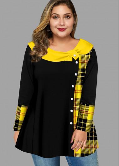Contrast Plaid Long Sleeve Plus Size T Shirt
