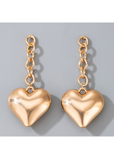 Rosewe coupon: Mother's Day Gifts Gold Metal Heart Design Earring Set - One Size