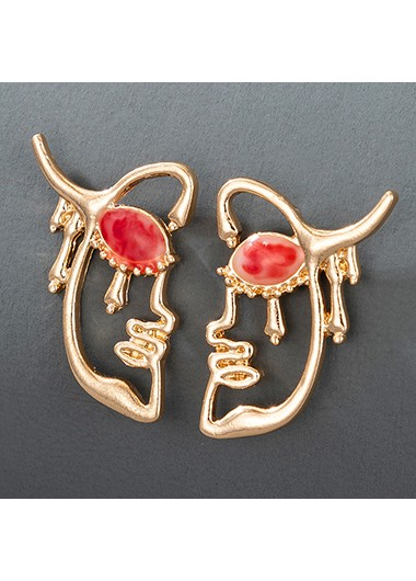 Rosewe coupon: Mother's Day Gifts Gold MetalHalf Face Shape Ruby Detail  Earring Set - One Size