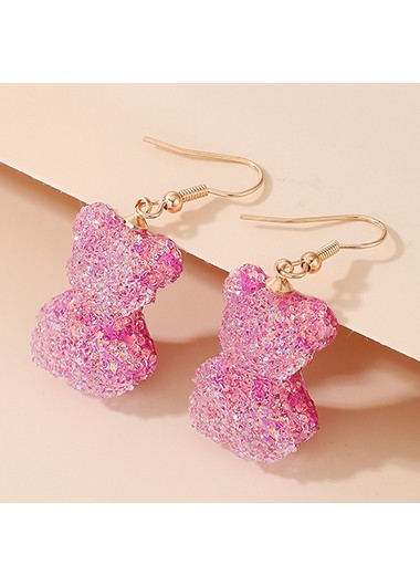 Rosewe coupon: Mother's Day Gifts 3 X 2cm Pink Bear Metal Earring Set - One Size