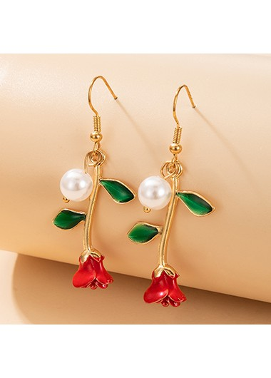 Rosewe coupon: Mother's Day Gifts Gold Metal Pearl Detail Rose Design Earring Set - One Size