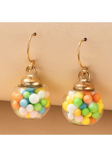 Rosewe coupon: Mother's Day Gifts 1.8 X 2.5cm Gold Metal Colorful Ball Earring Set - One Size