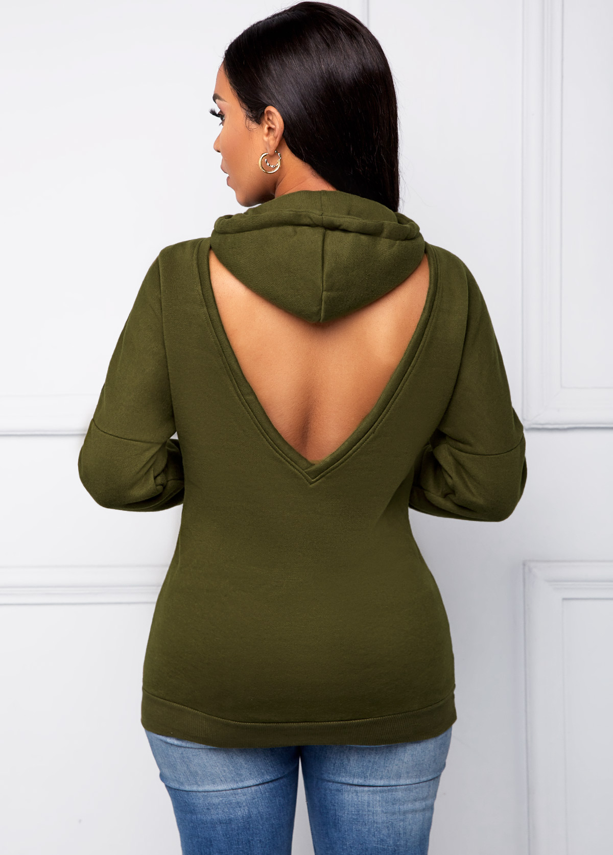 Long Sleeve Army Green Cutout Back Drawstring Hoodie