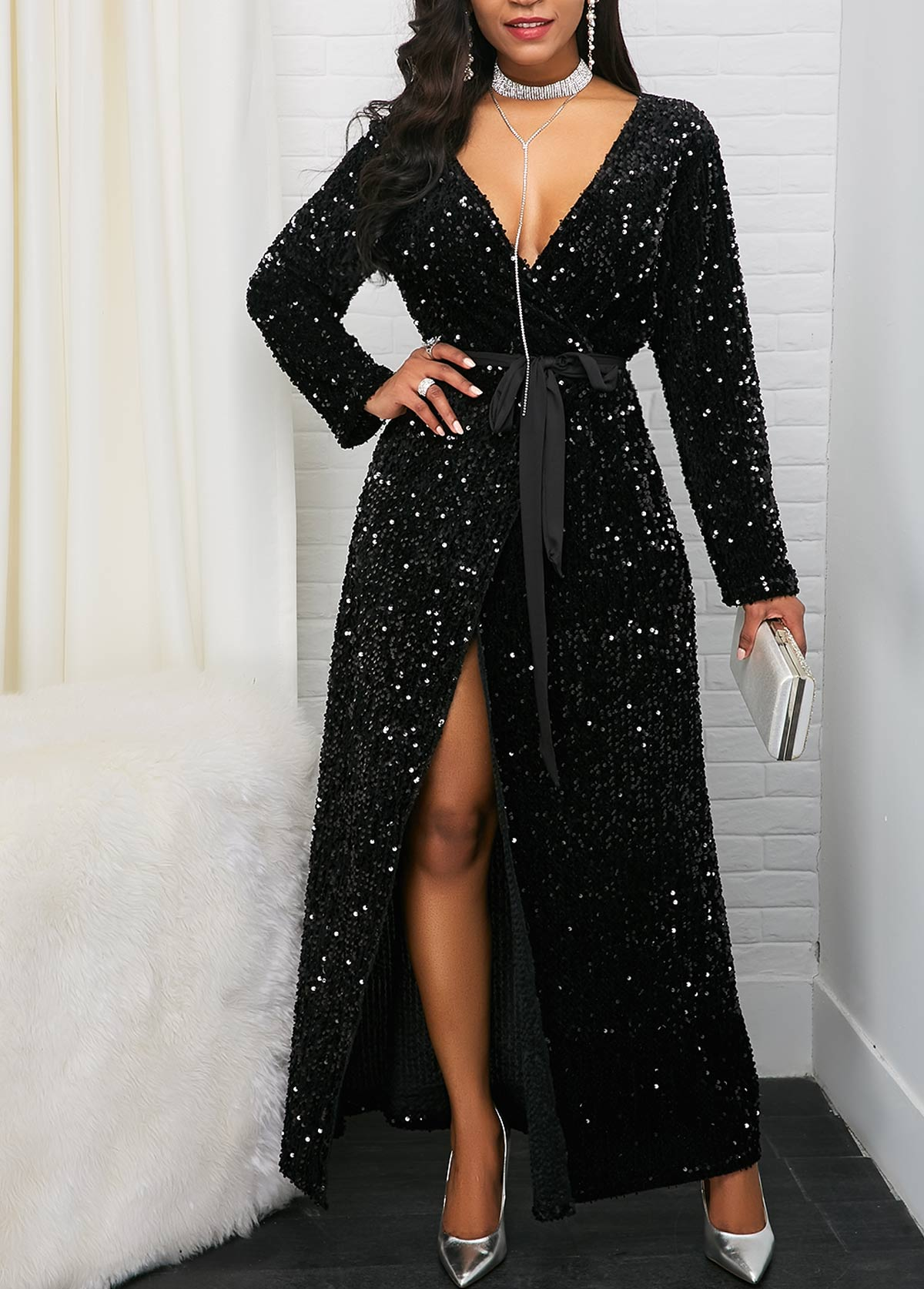 Long Sleeve Front Slit Belted Sequin Dress