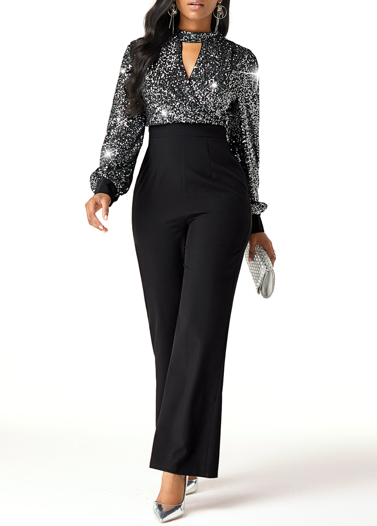 Cutout Front High Waist Sequin Embellished Jumpsuit