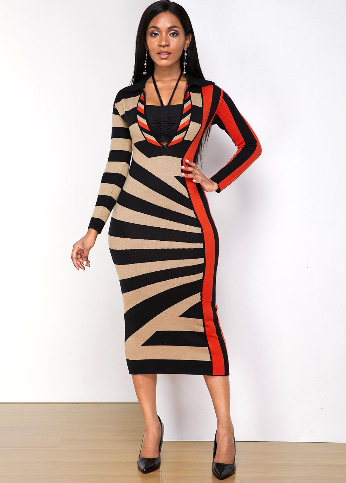 Geometric Print Turndown Collar Sweater Dress