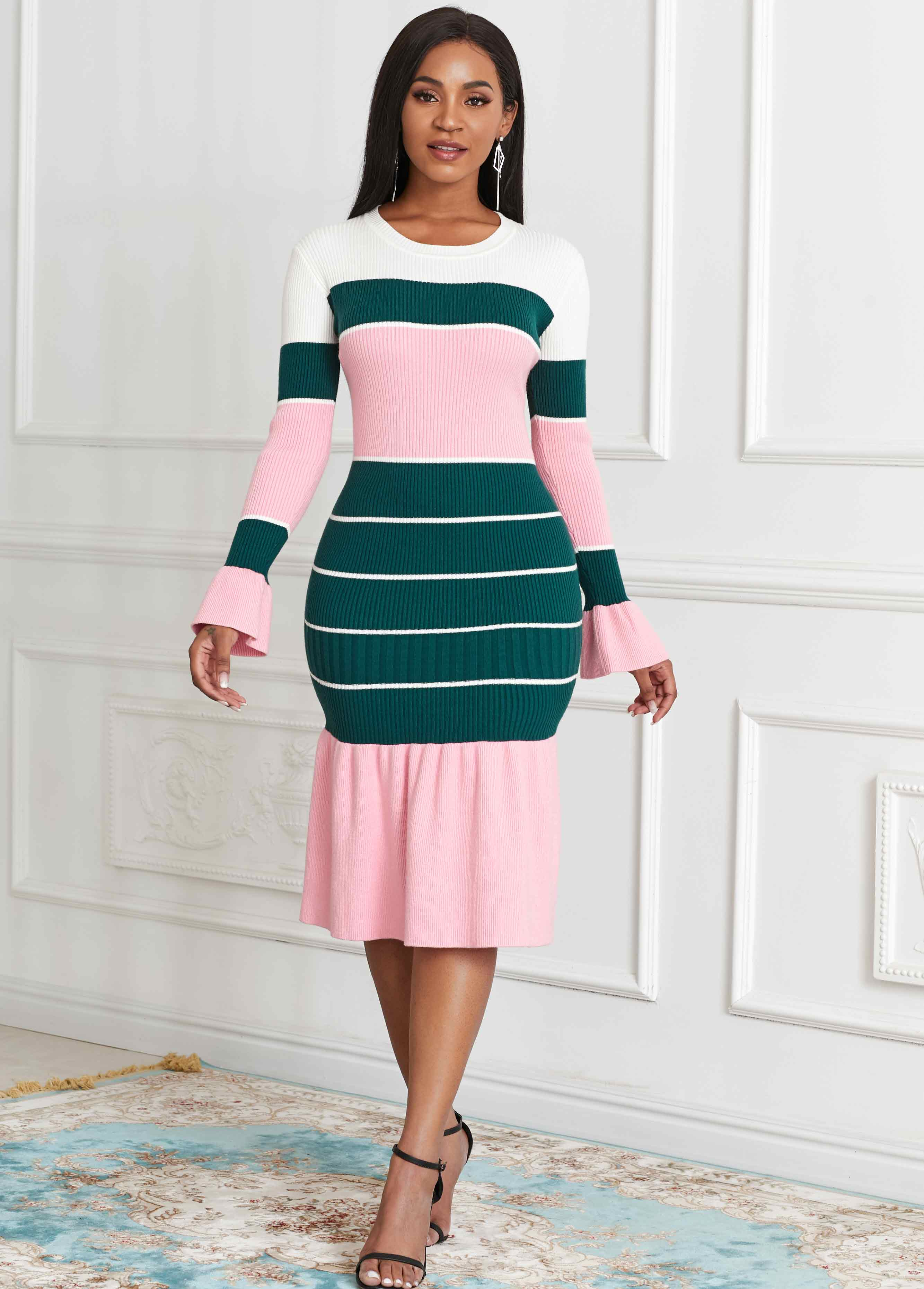 Color Block Round Neck Long Sleeve Sweater Dress
