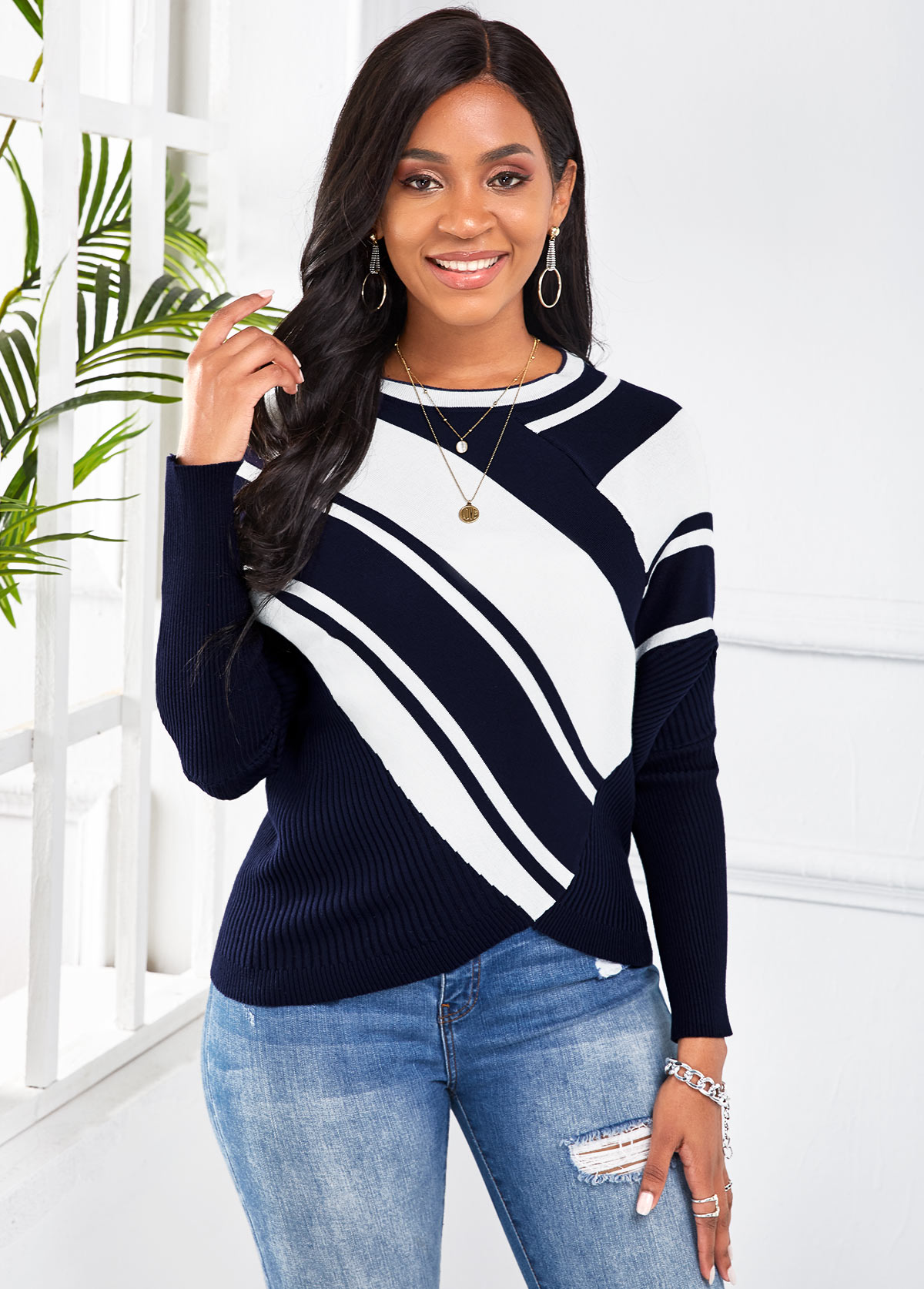 Striped Long Sleeve Round Neck Sweater