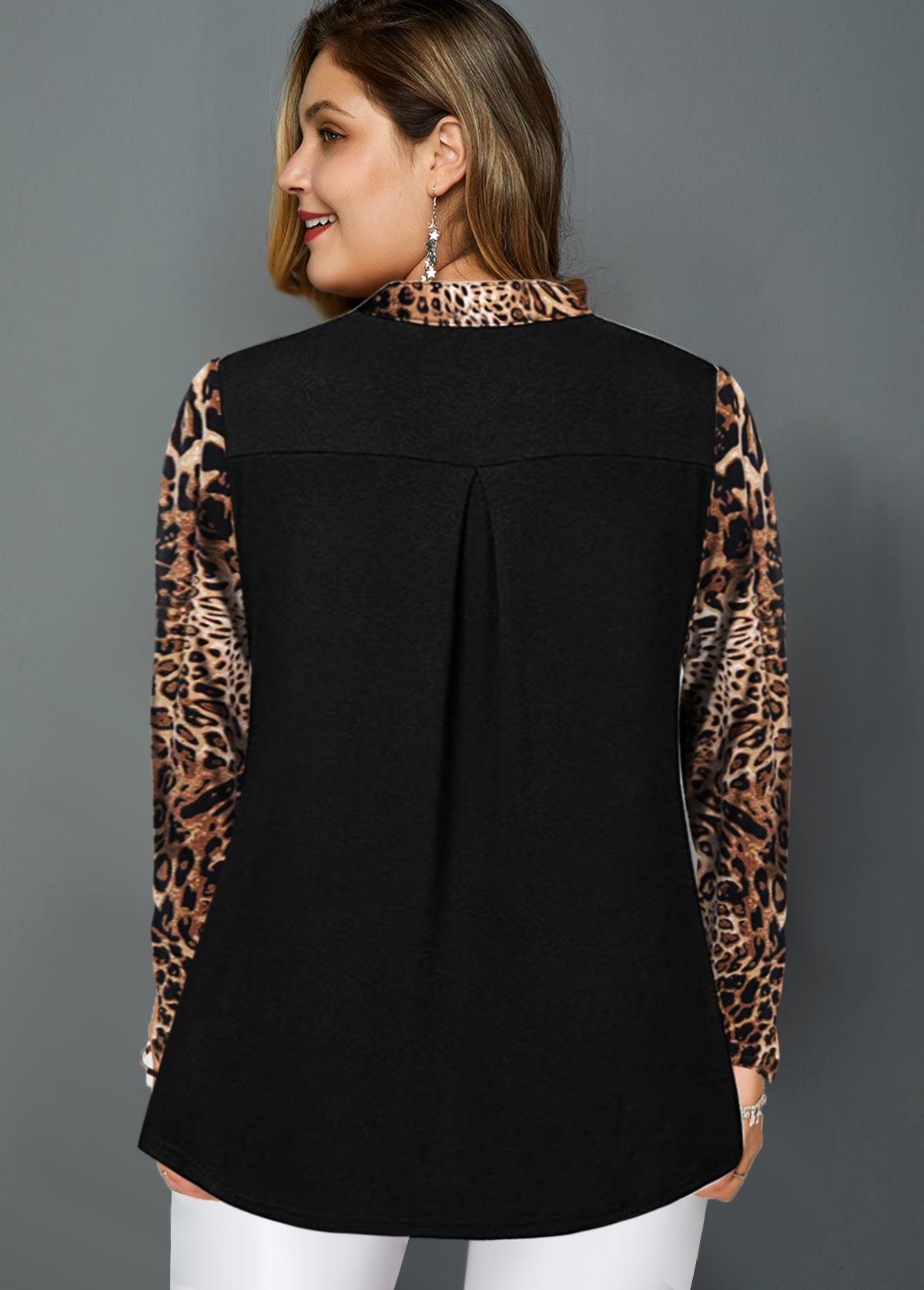 Quarter Zip Long Sleeve Leopard Blouse