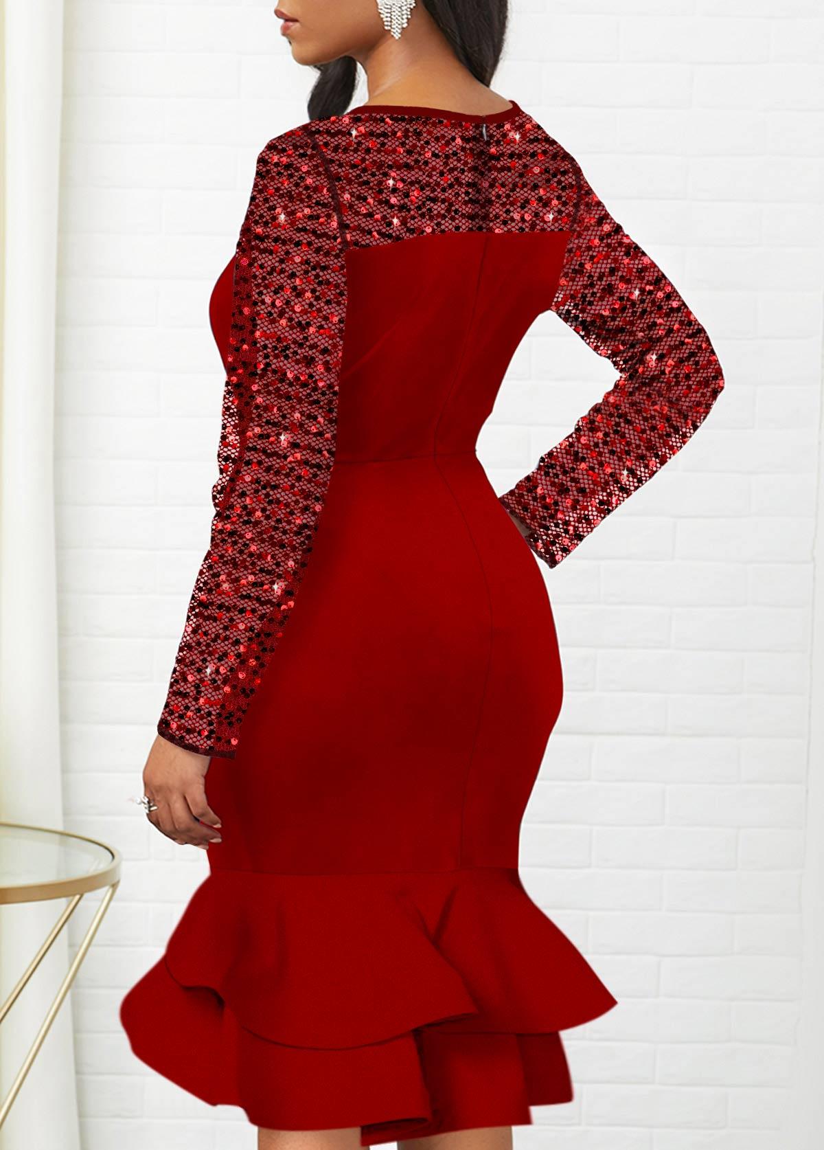 Sequin Detail Round Neck Mermaid Dress
