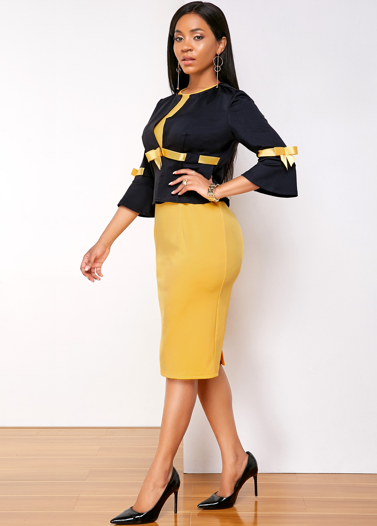 Contrast Bowknot Top and Round Neck Dress