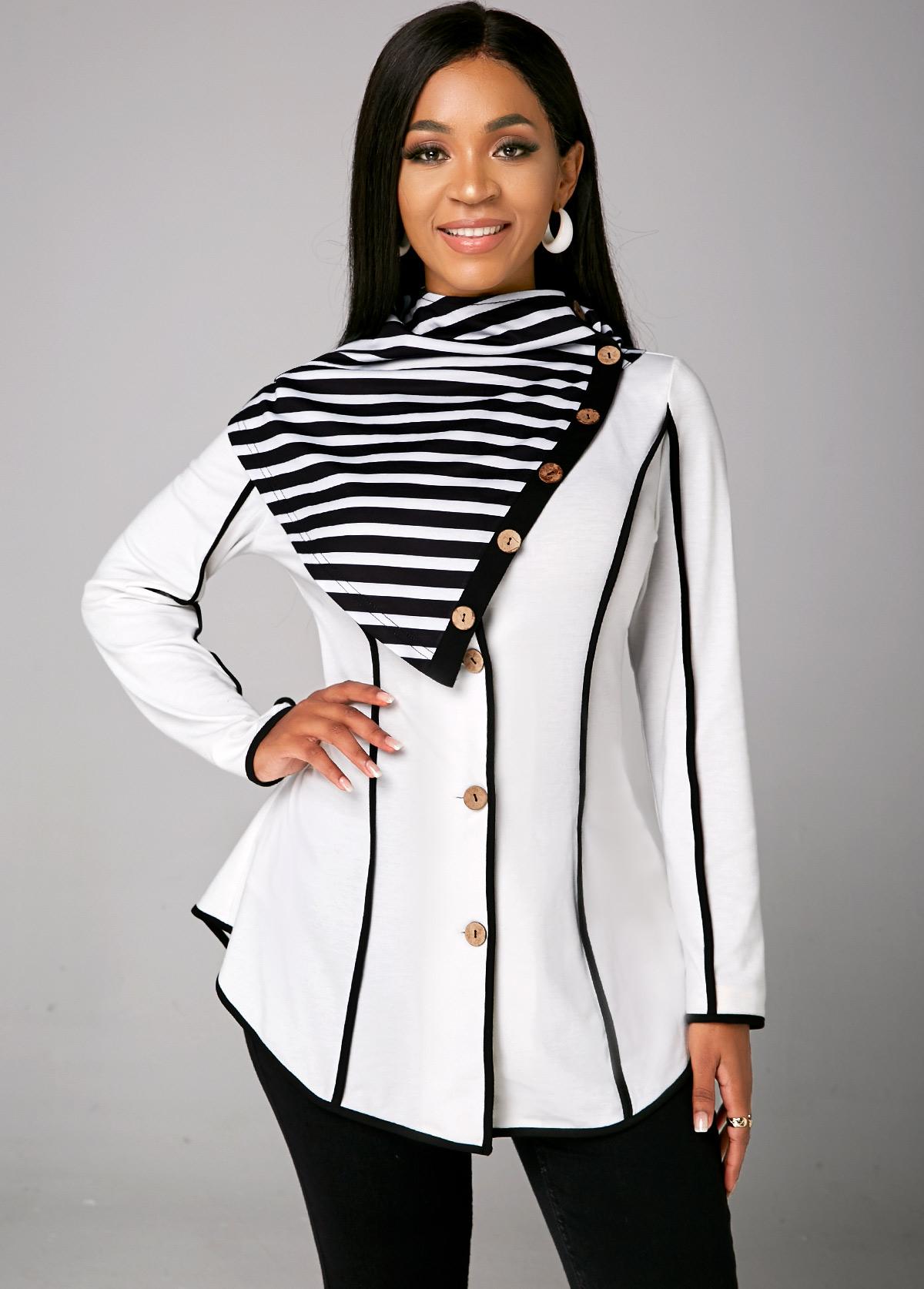 Asymmetric Hem Striped Long Sleeve Sweatshirt
