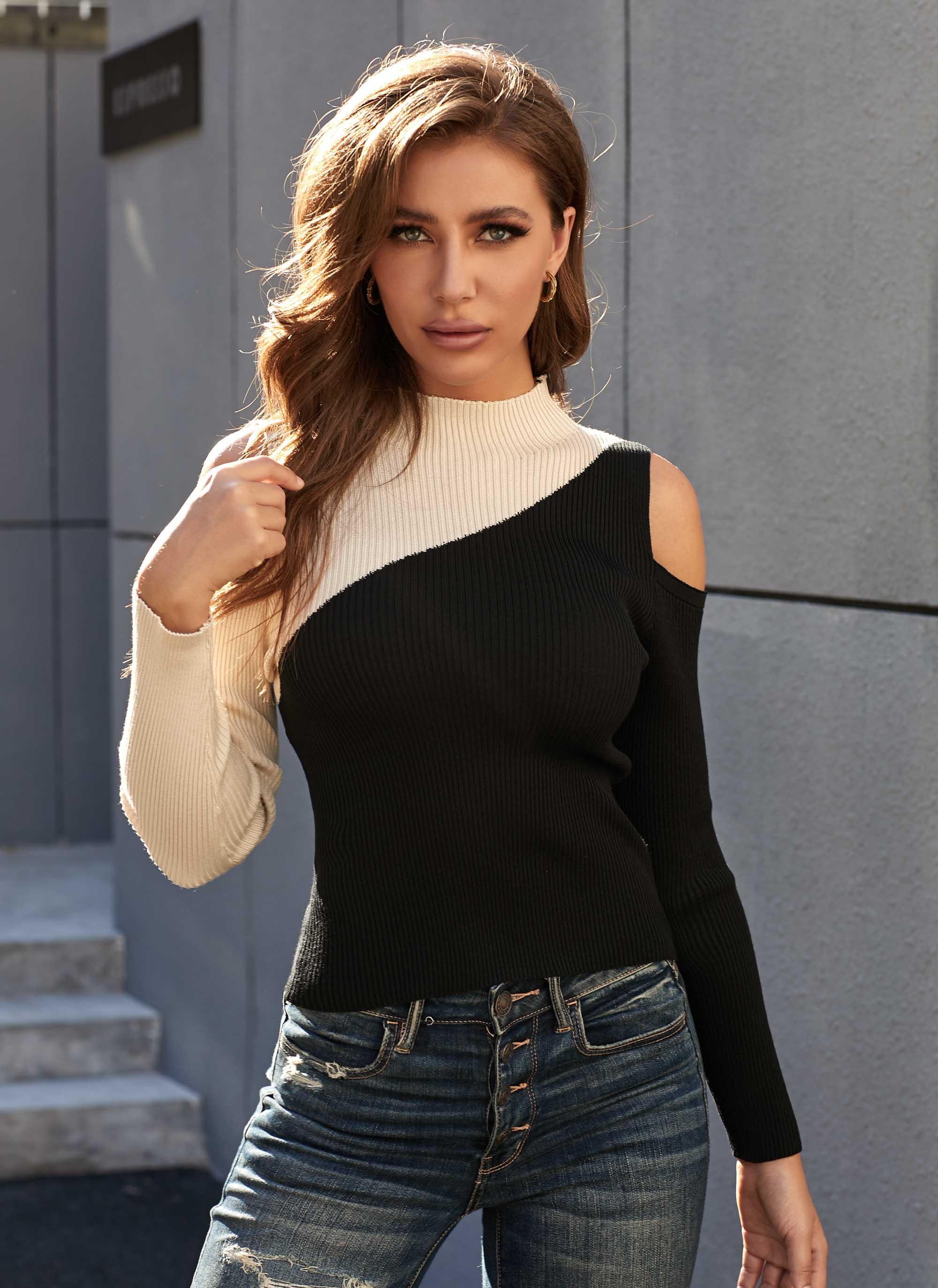 Long Sleeve Contrast Cold Shoulder Sweater