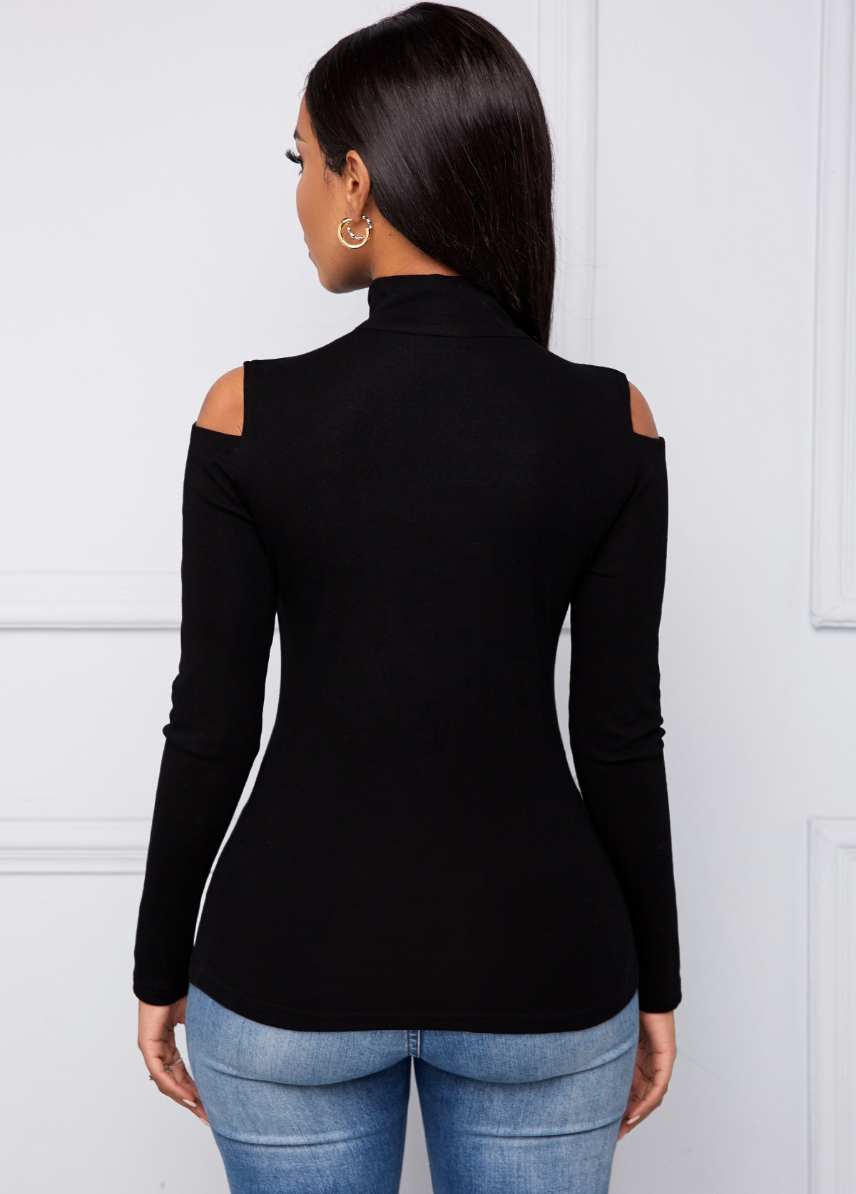 Long Sleeve Cold Shoulder Quarter Zip T Shirt