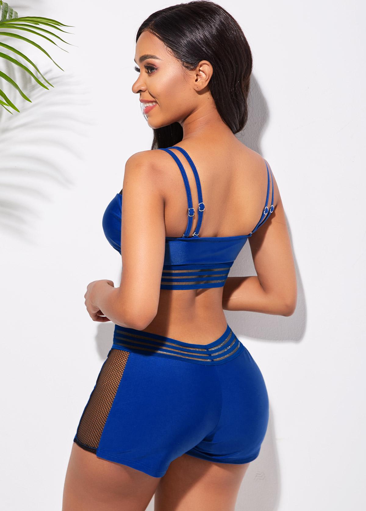 Mesh Stitching Double Strap Bikini Set