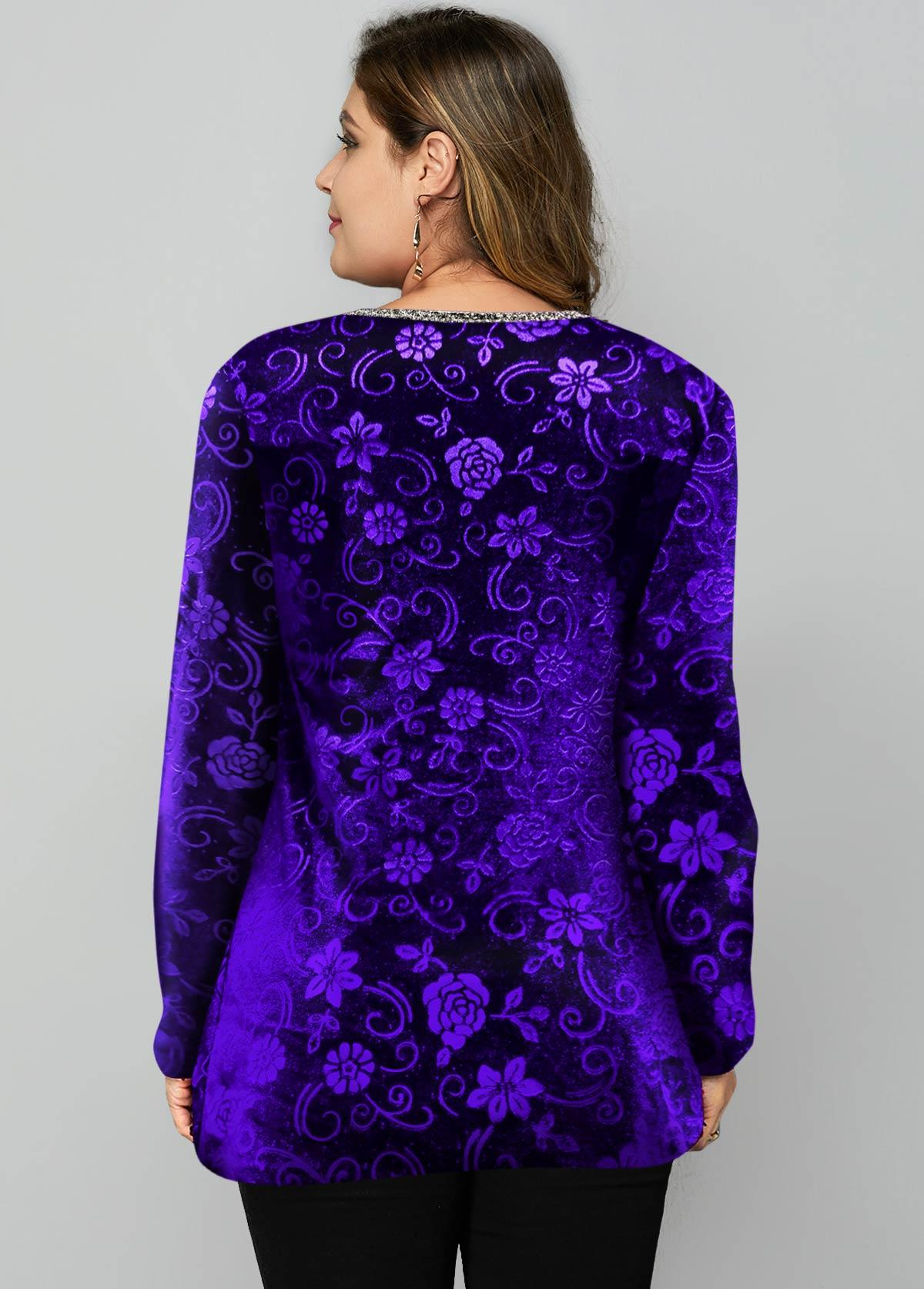 Velvet Cutout Neck Plus Size T Shirt