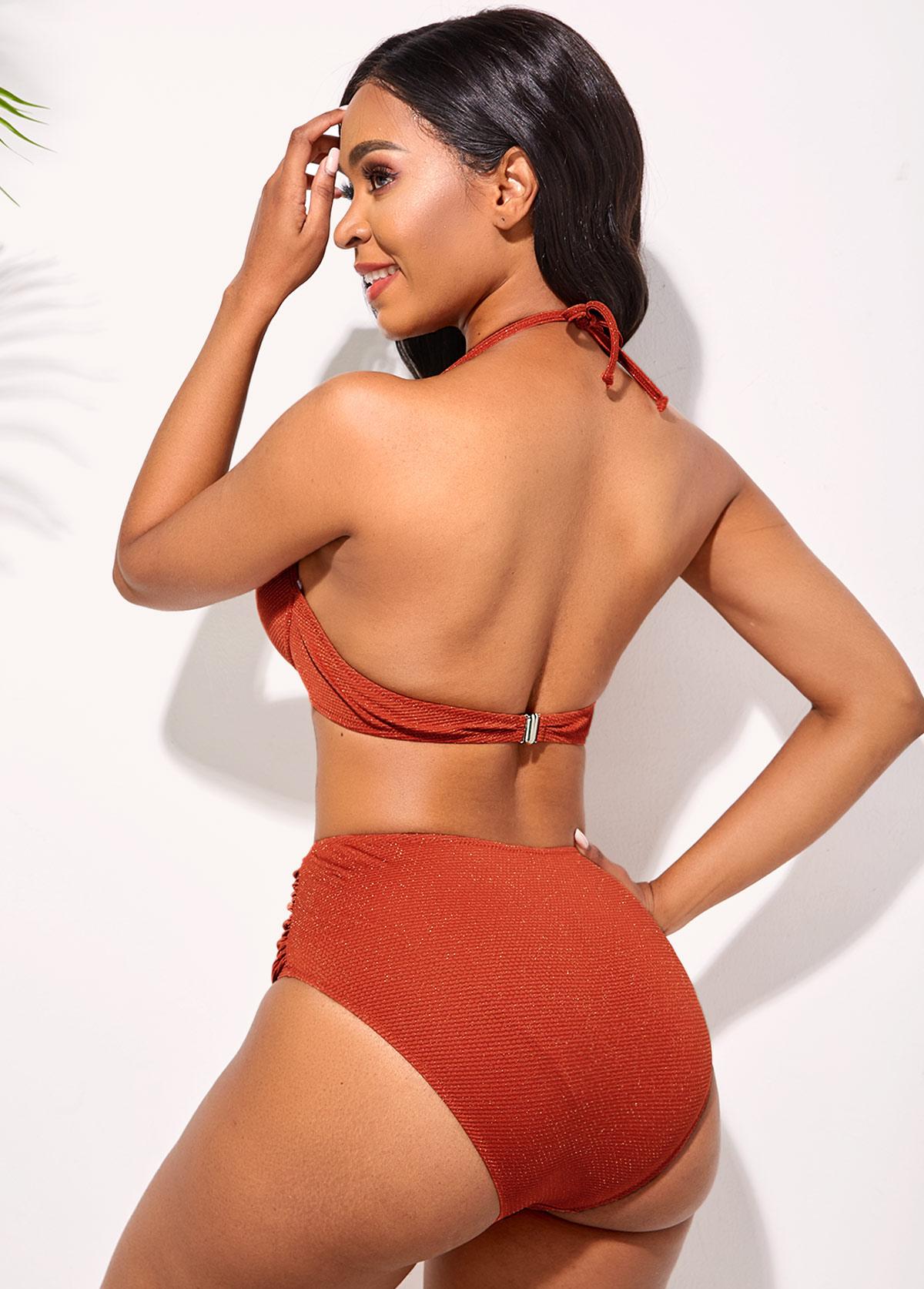 Ruched Mid Waist Halter Bikini Set