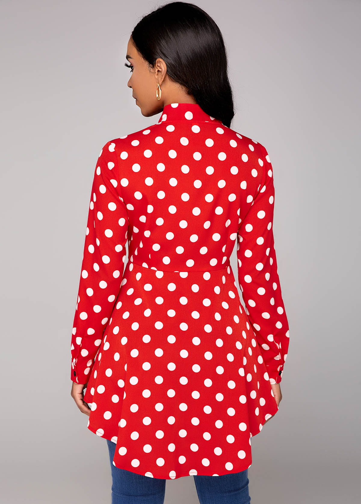 Dip Hem Polka Dot Tie Neck Blouse