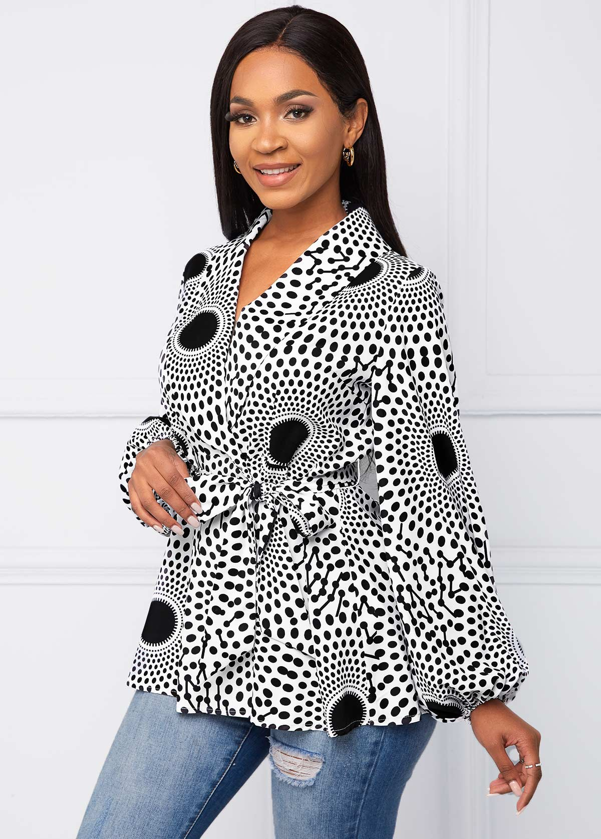Long Sleeve Geometric Print Belted Blouse