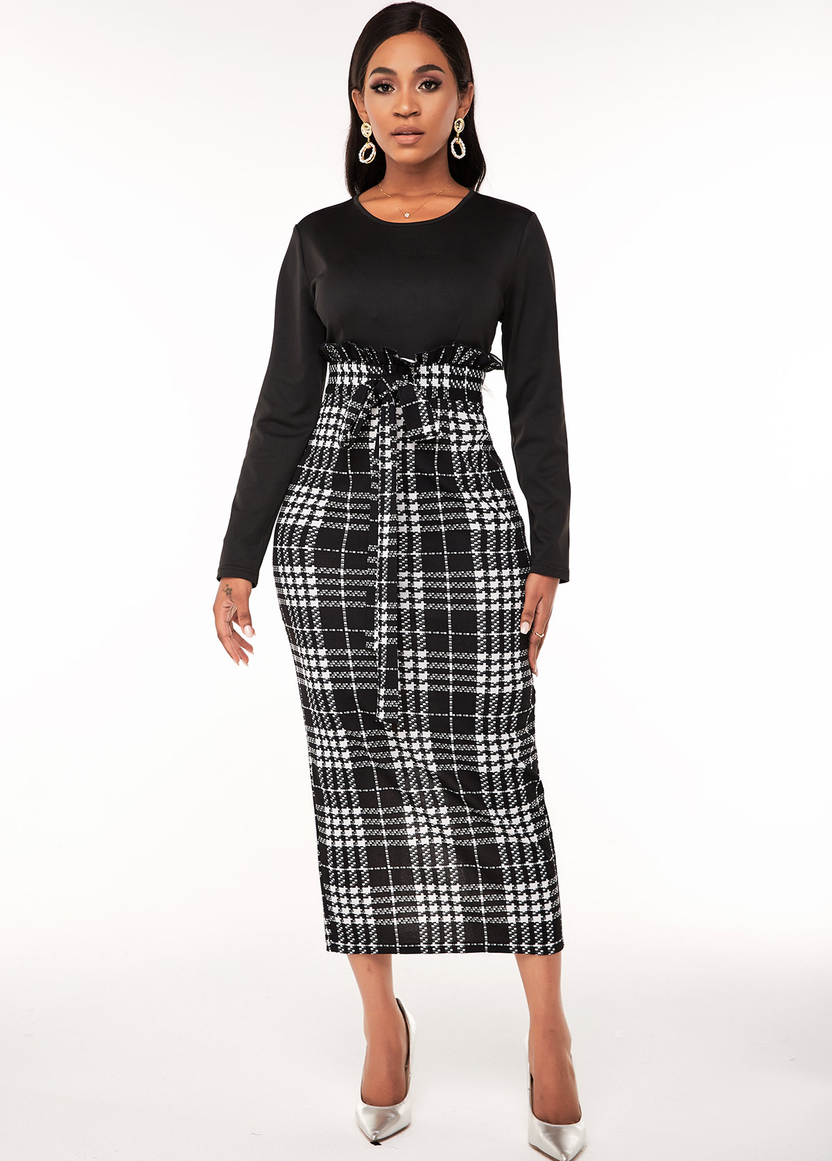 Long Sleeve Belted Houndstooth Print Dress