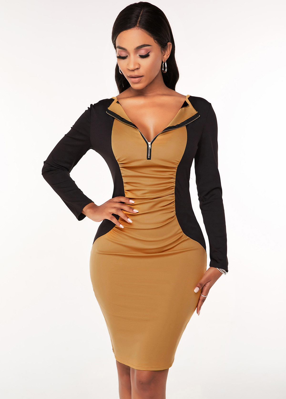 Ruched Quarter Zip Contrast Bodycon Dress