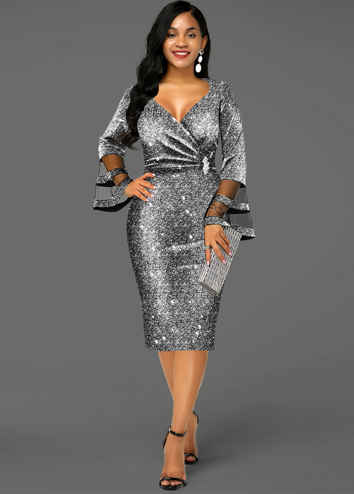 Sequin Hot Stamping Flare Sleeve Dress