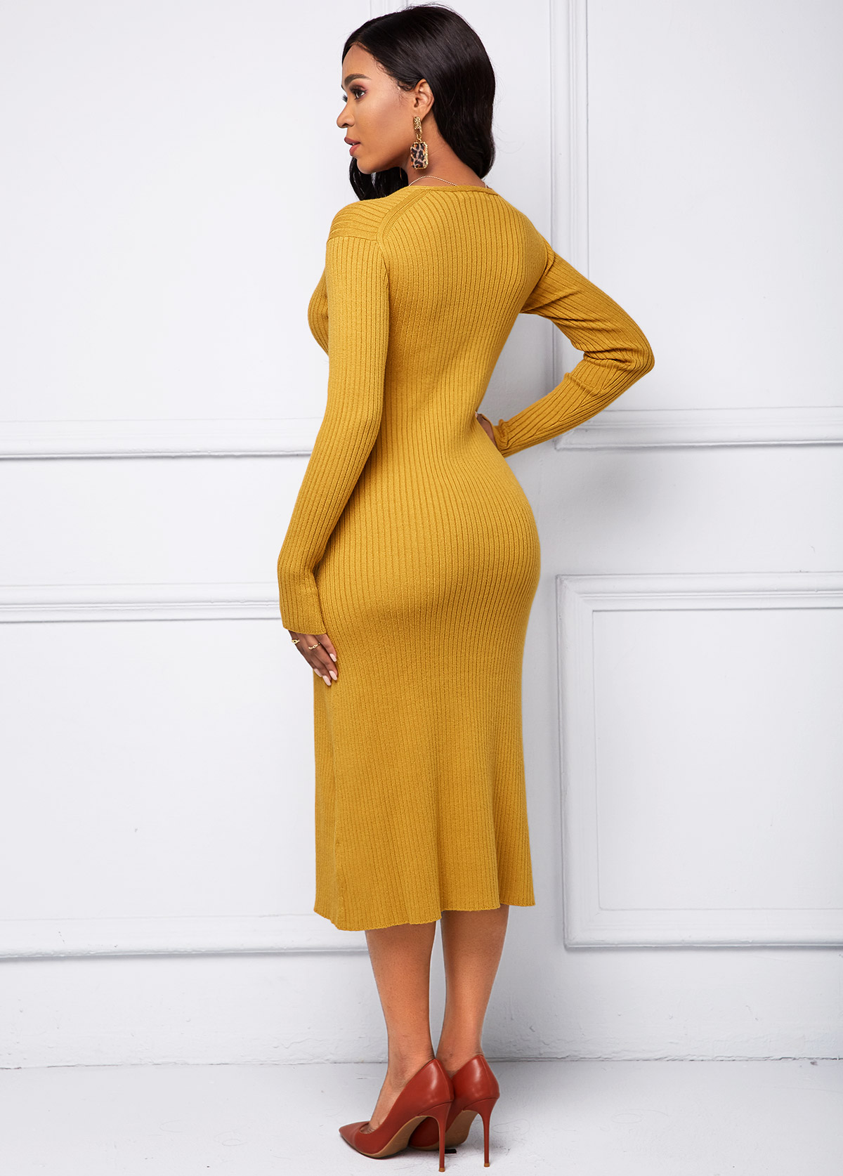 Multi Wear Bib and V Neck Sweater Dress