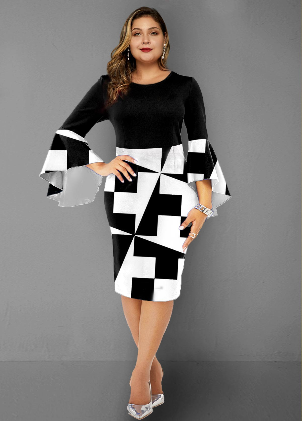 Plus Size Geometric Print Flare Sleeve Sheath Dress