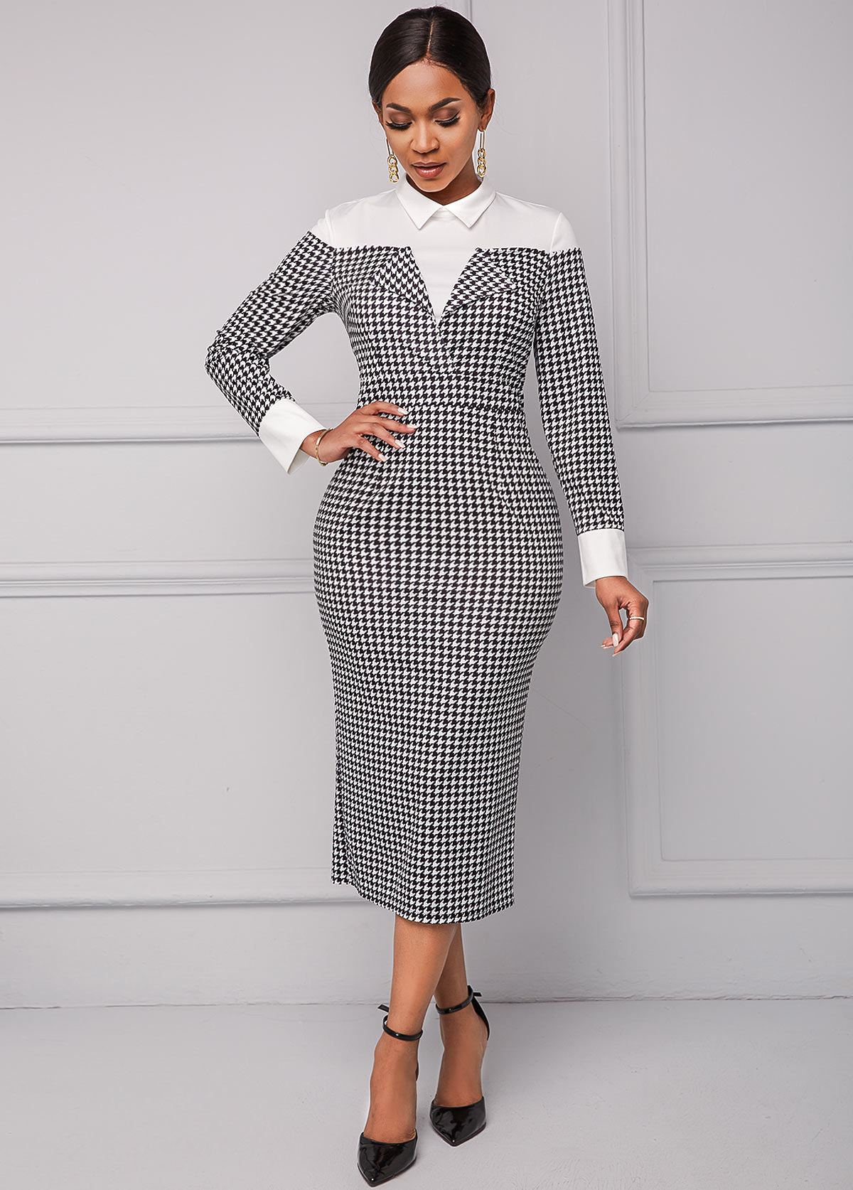 Long Sleeve Houndstooth Print Turndown Collar Dress