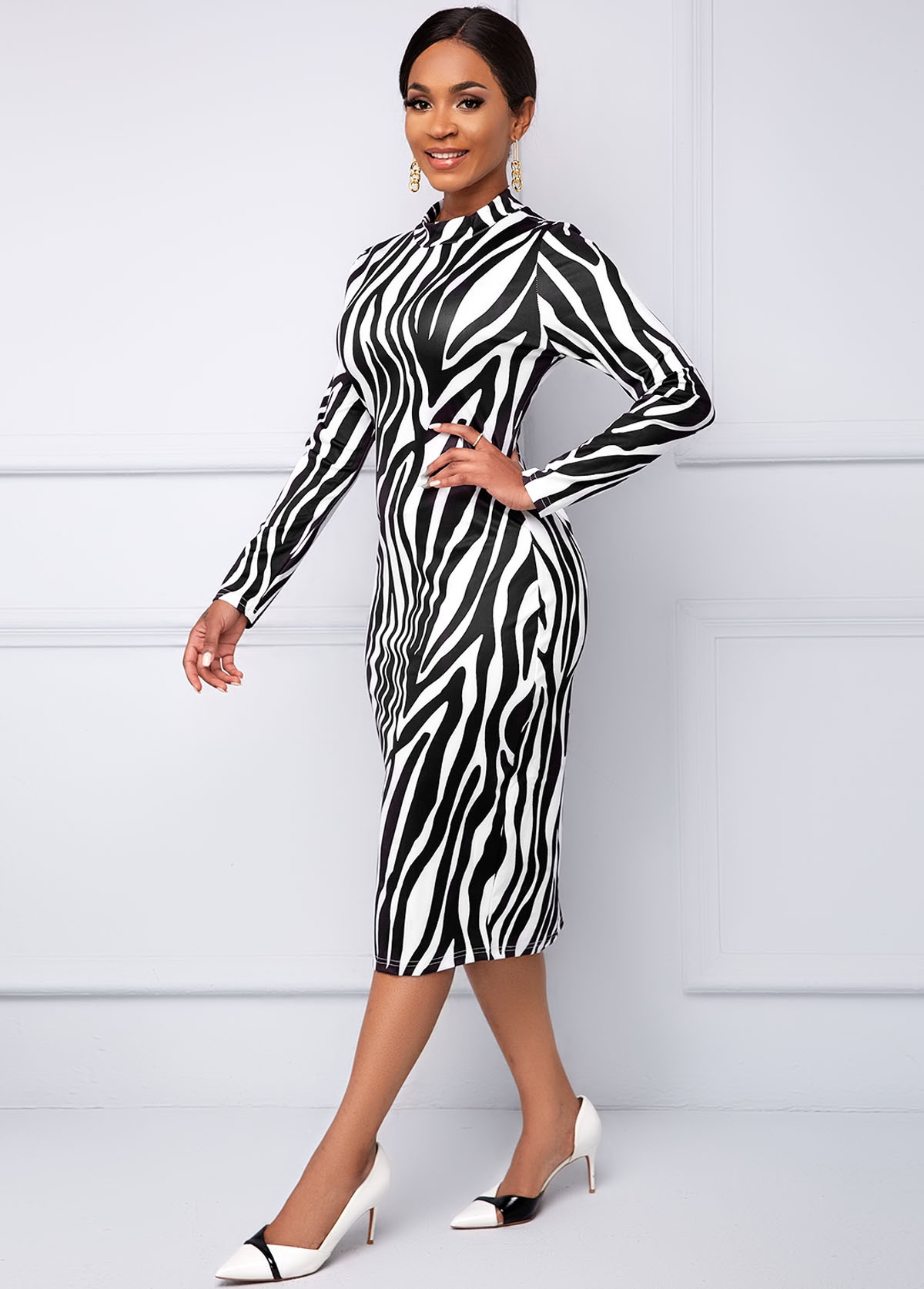 Long Sleeve Zebra Print Round Neck Dress