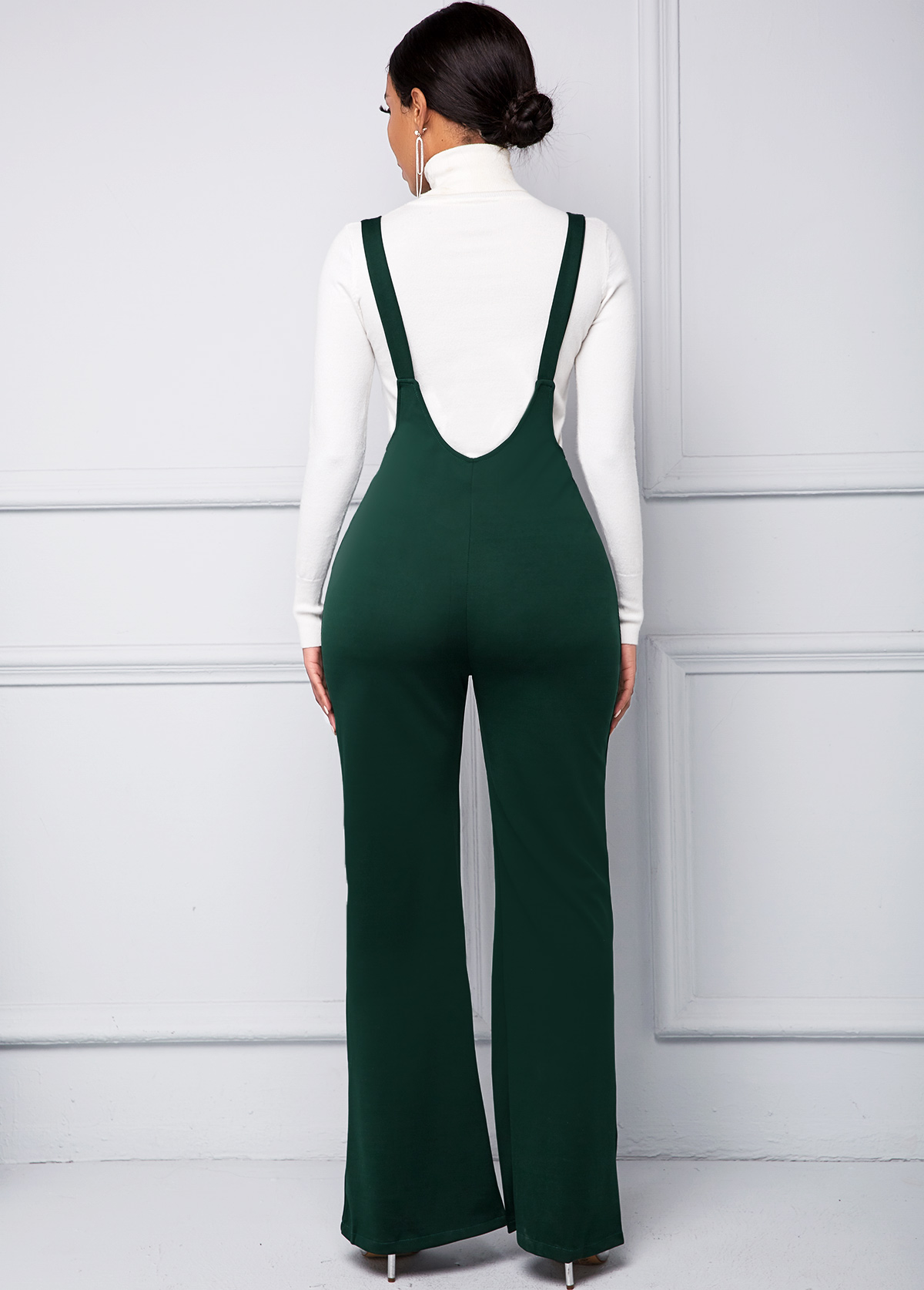 Ring Detail Spaghetti Strap Zip Front Jumpsuit