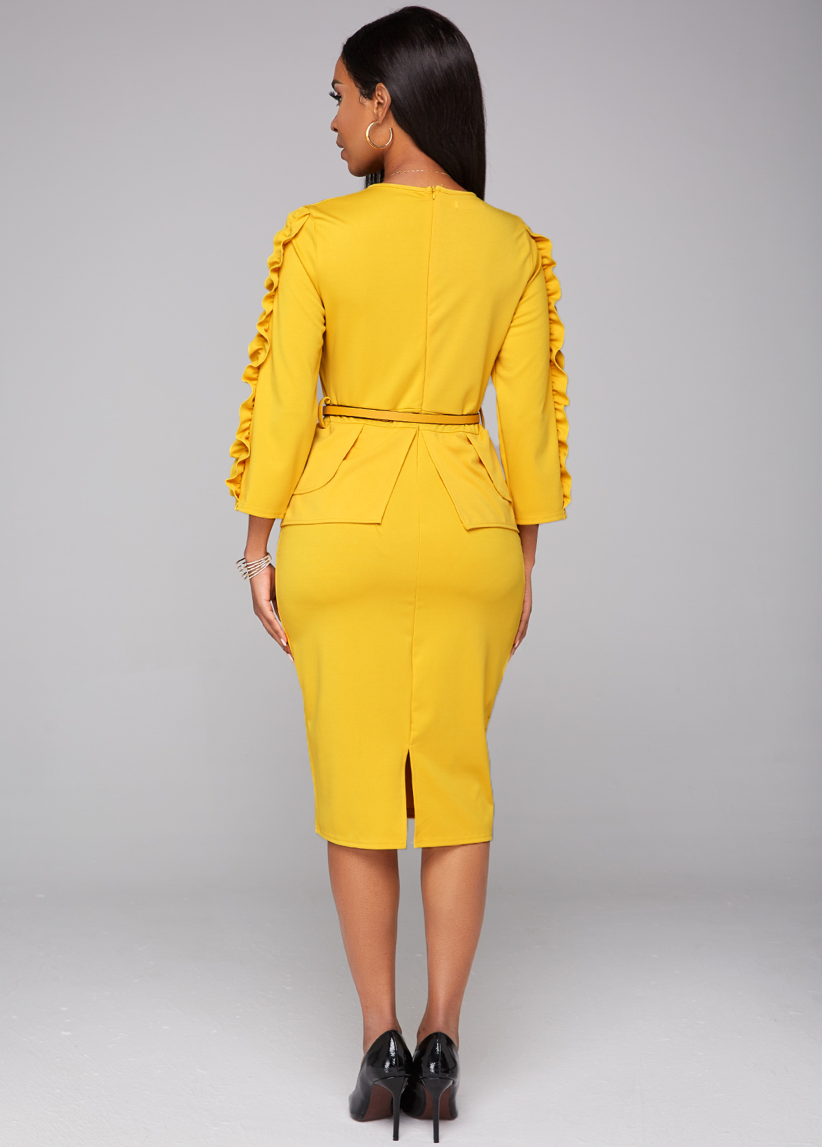 Stringy Selvedge Round Neck Belted Pencil Dress