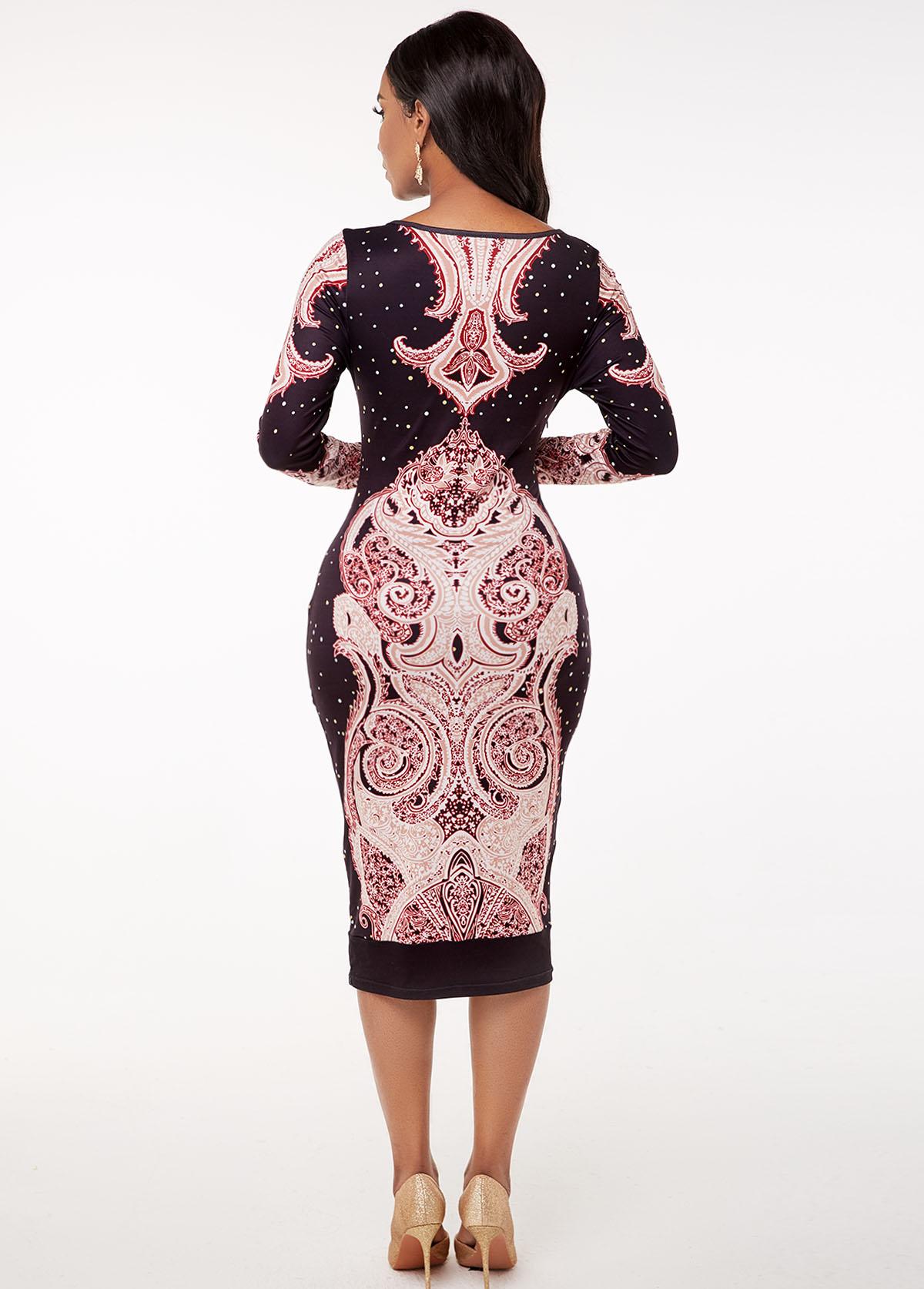 Round Neck Tribal Print Long Sleeve Bodycon Dress