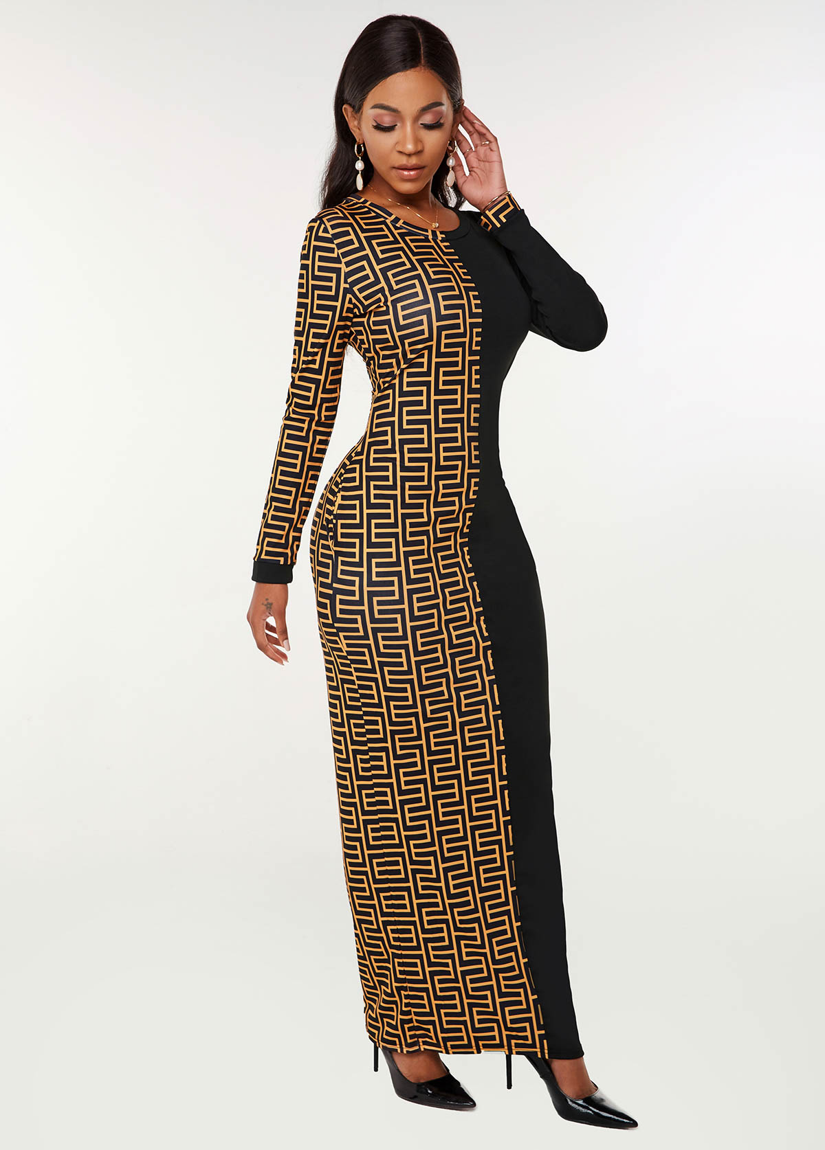 Long Sleeve Geometric Print Round Neck Dress