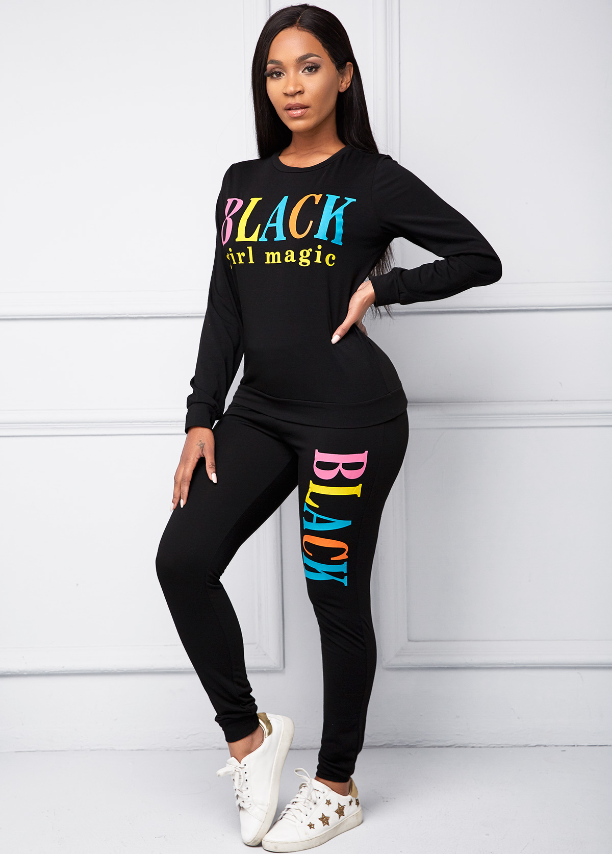 Round Neck Long Sleeve Letter Print Top and Pants