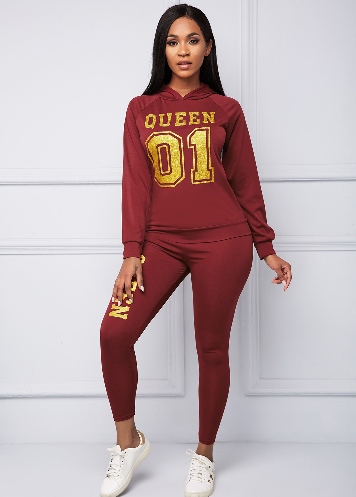 Hooded Collar Hot Stamping Letter Print Top and Pants