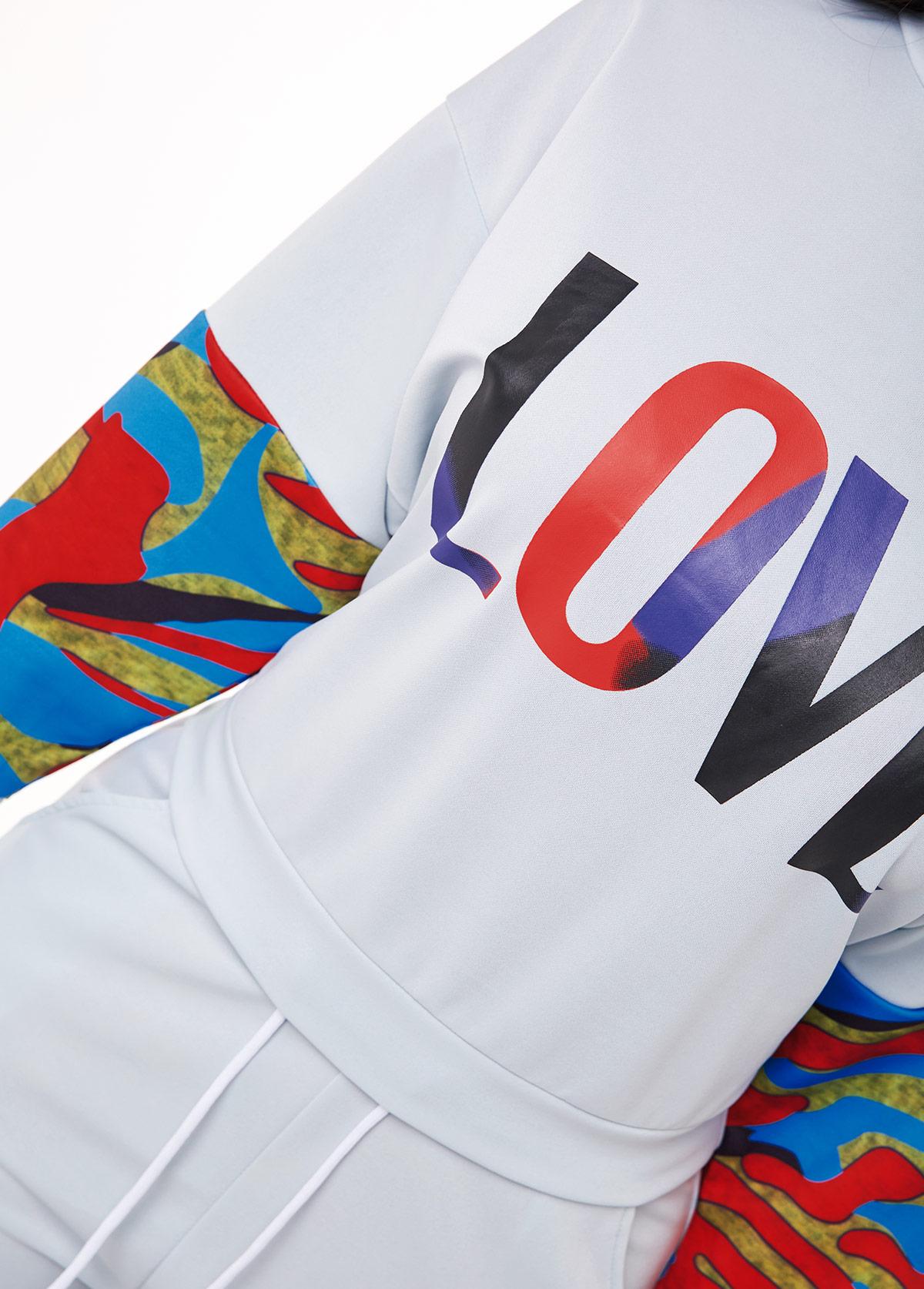 Long Sleeve Letter Print Drawstring Waist Sweatsuit