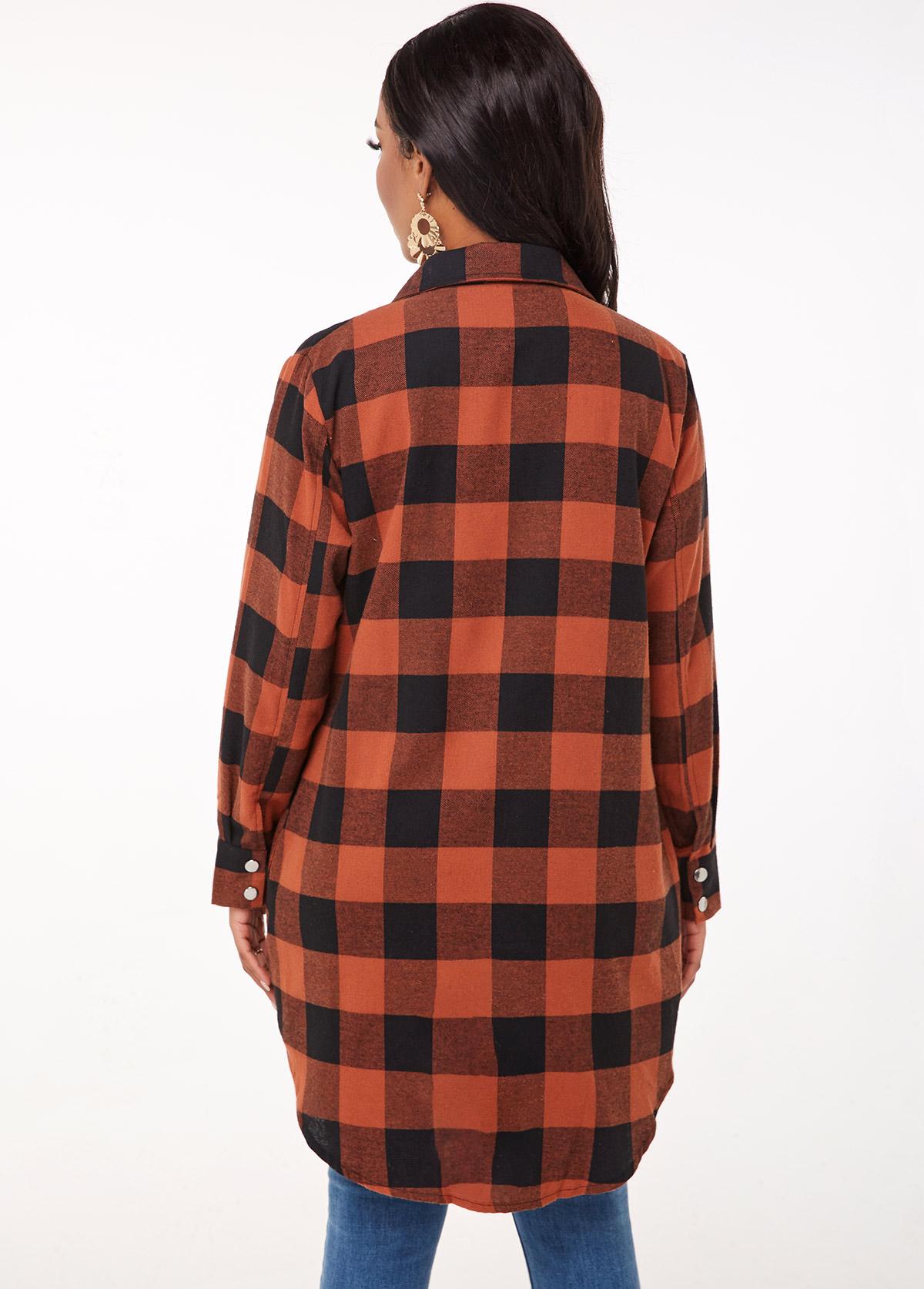 Button Up Turndown Collar Plaid Blouse