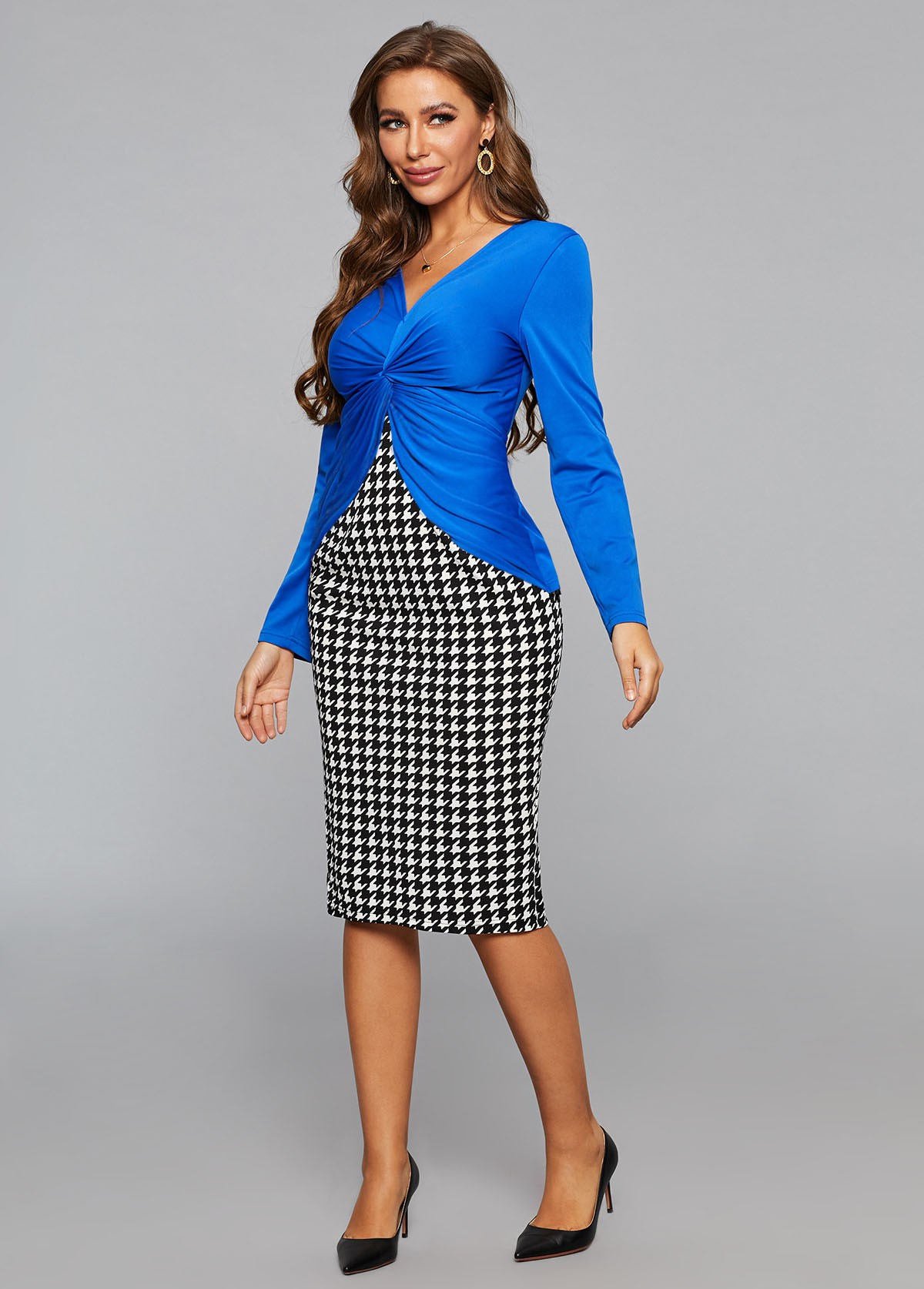 Faux Two Piece Twist Front Houndstooth Print Dress