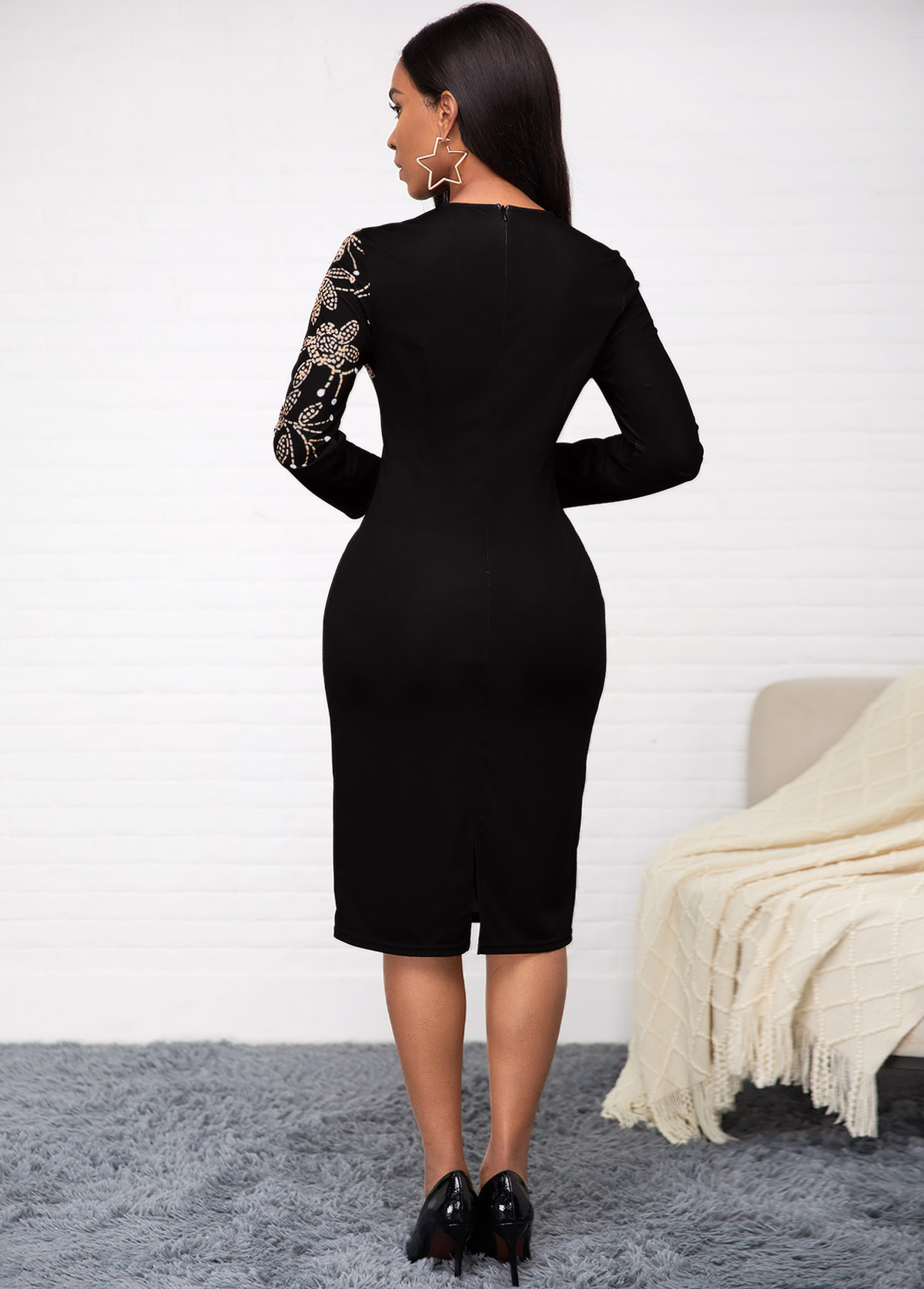 Long Sleeve Printed Round Neck Dress