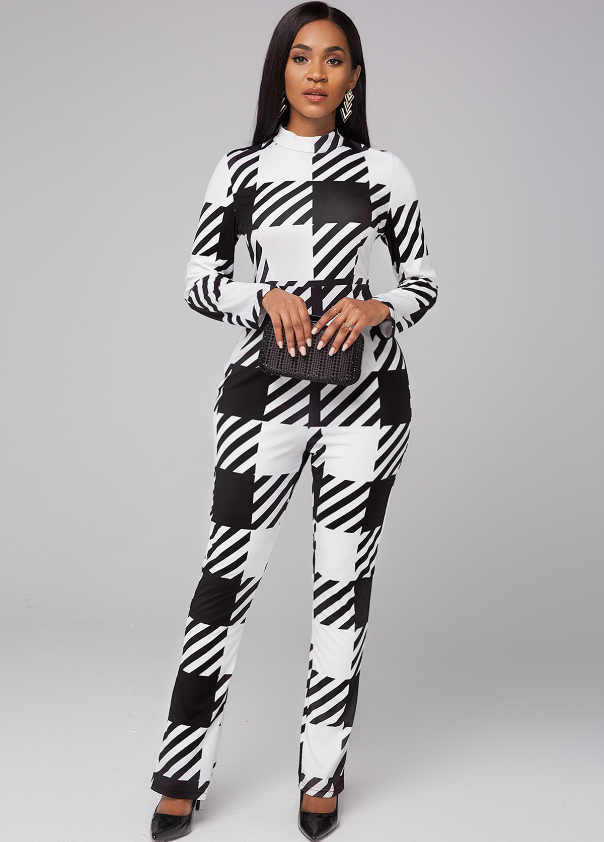 Long Sleeve Plaid Mock Neck Jumpsuit