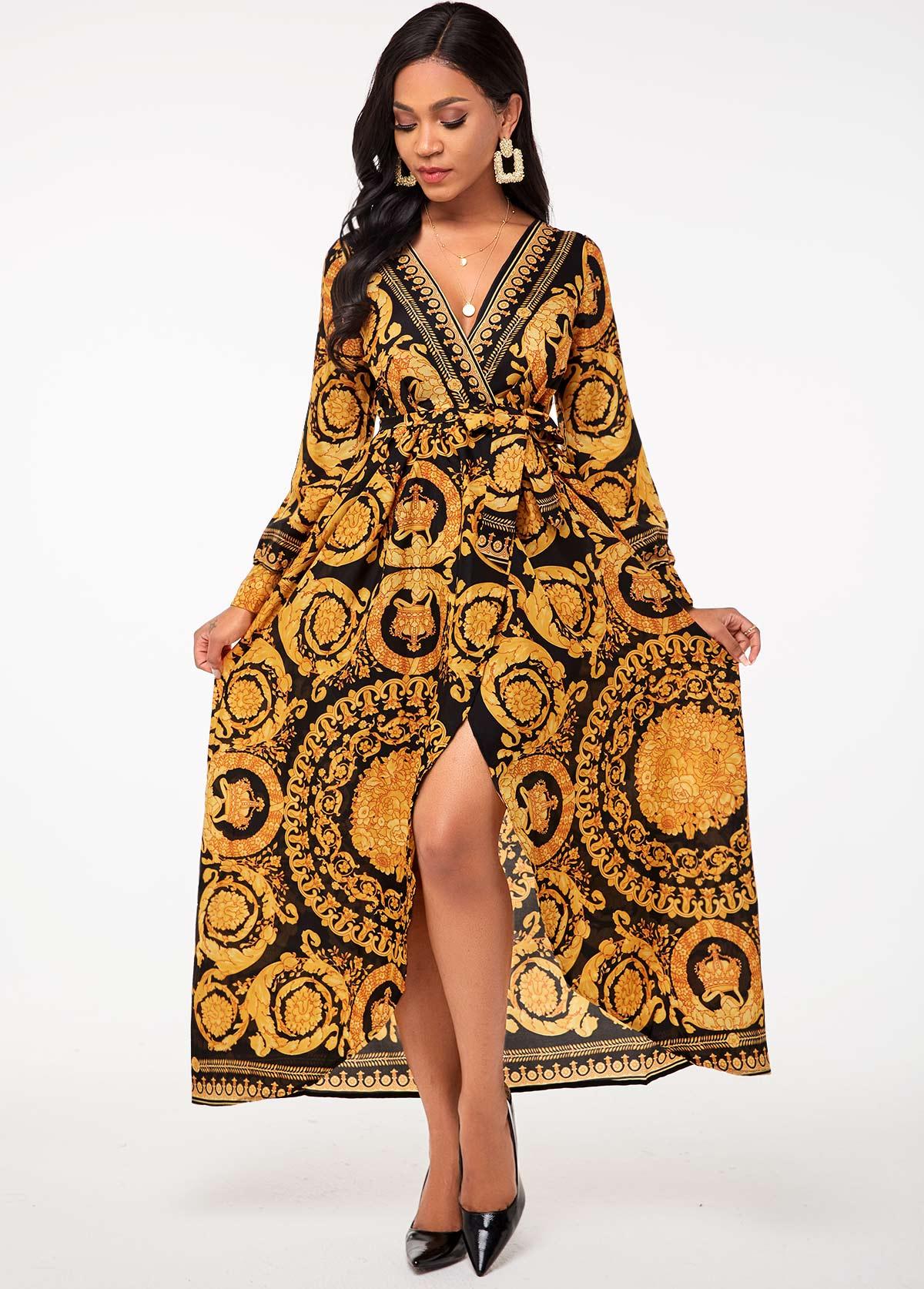 Belted Bohemian Print V Neck Dress