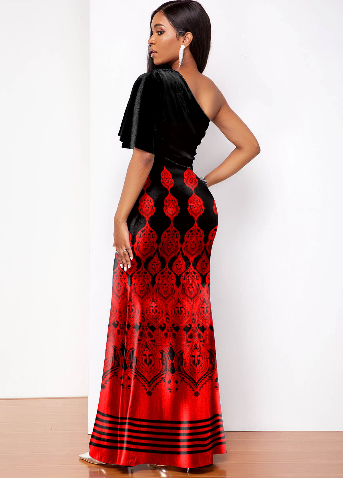 Butterfly Sleeve Tribal Print One Shoulder Maxi Dress
