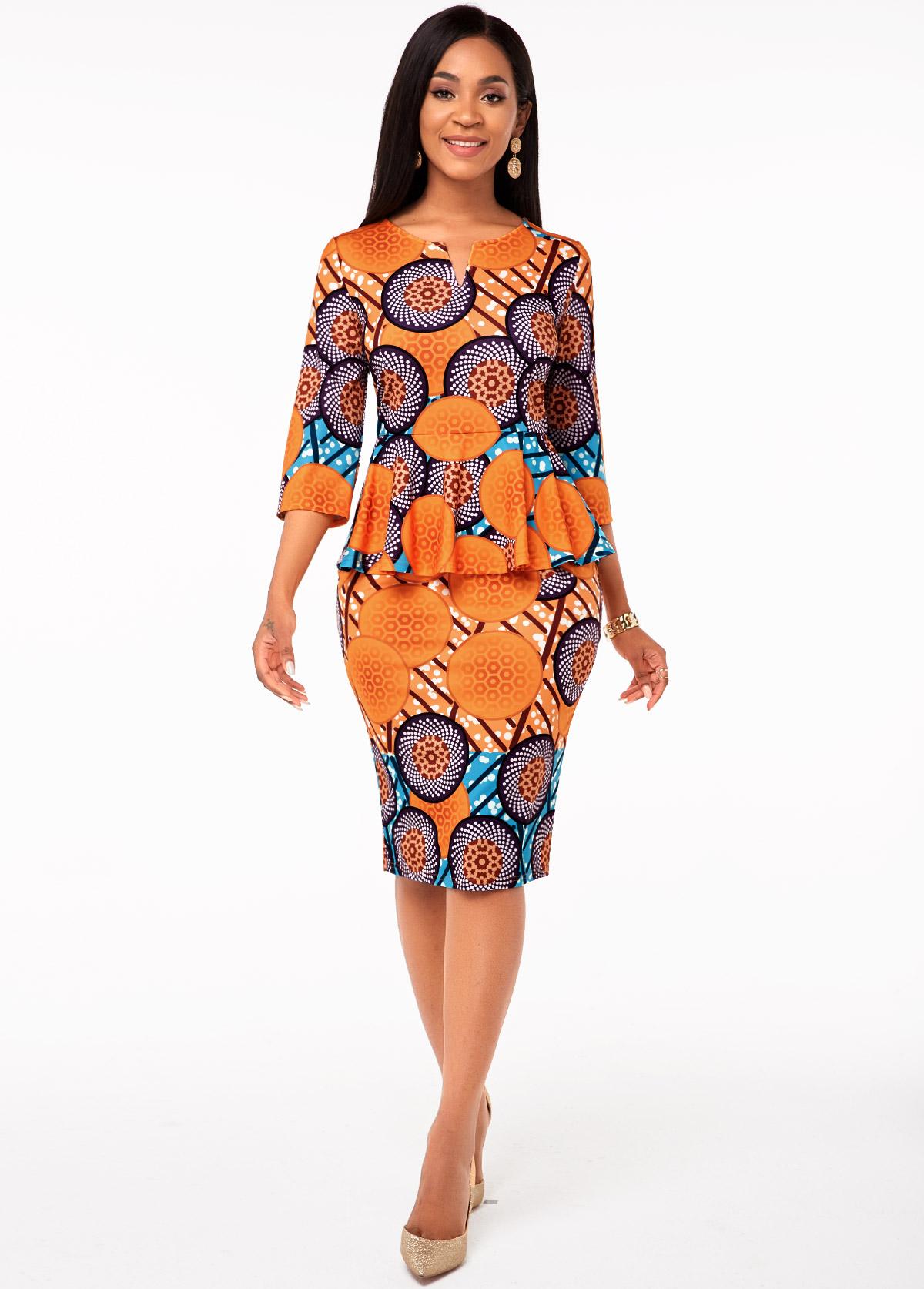 Split Neck Tribal Print Flounce Dress